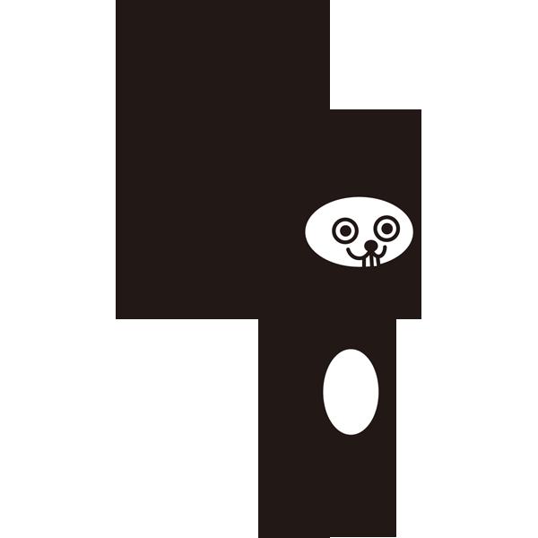 動物 うさぎ(モノクロ)