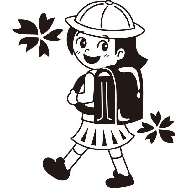 年中行事 女子生徒(ランドセル)(モノクロ)