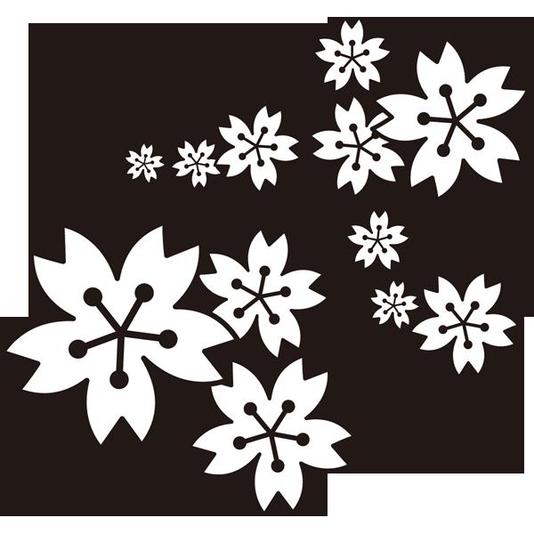 年中行事 桜の花(モノクロ)