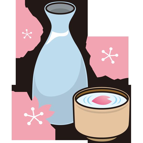 年中行事 お花見のお酒(桜と日本酒)(カラー)