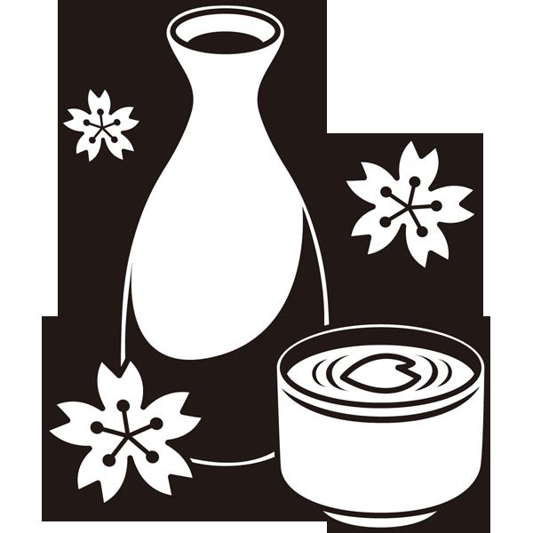 年中行事 お花見のお酒(桜と日本酒)(モノクロ)