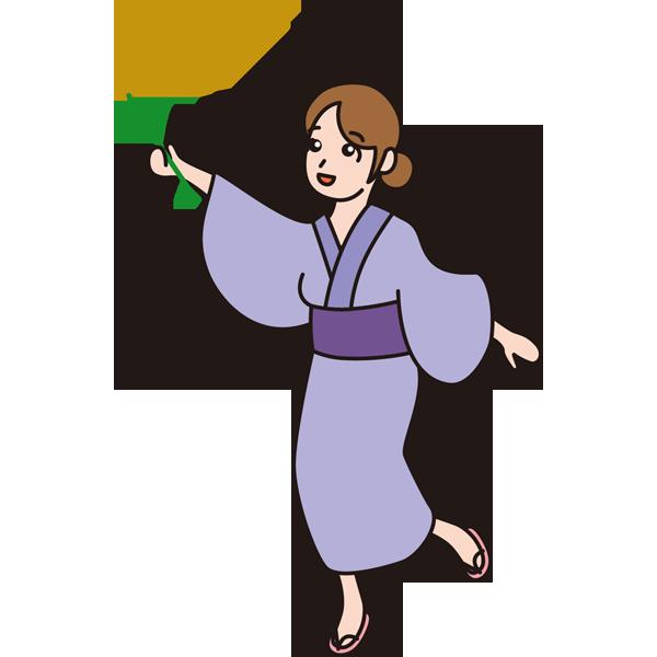 年中行事 ススキと女性(カラー)
