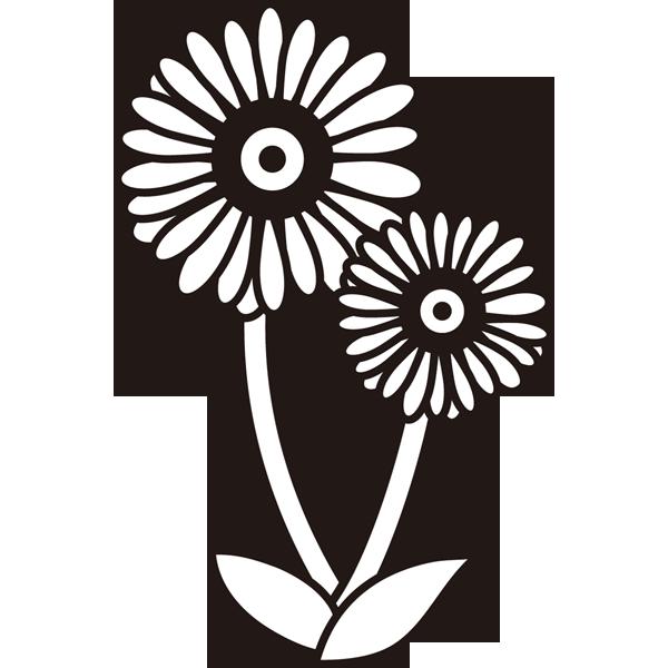 植物 ガーベラ(モノクロ)