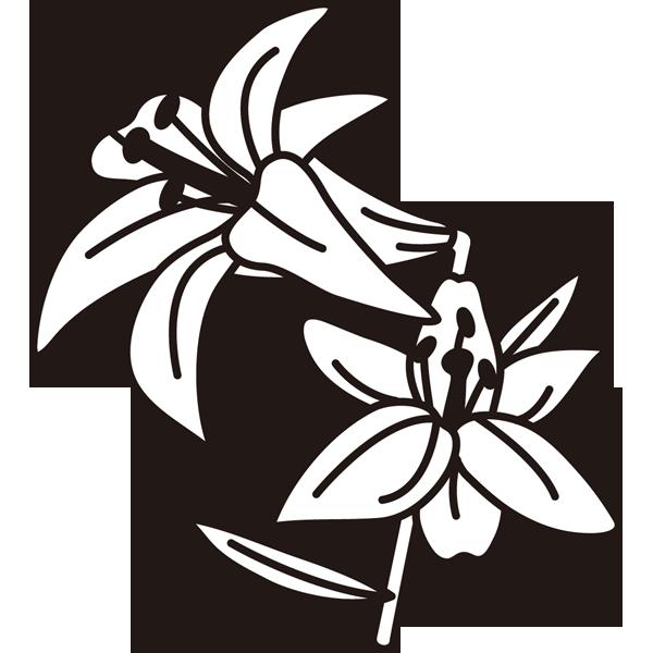 植物 ゆり(モノクロ)
