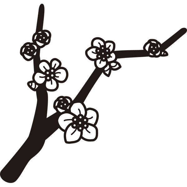 植物 梅(モノクロ)
