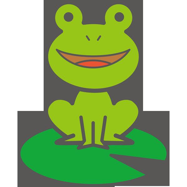 年中行事 カエル(葉っぱの上に座る)(カラー)