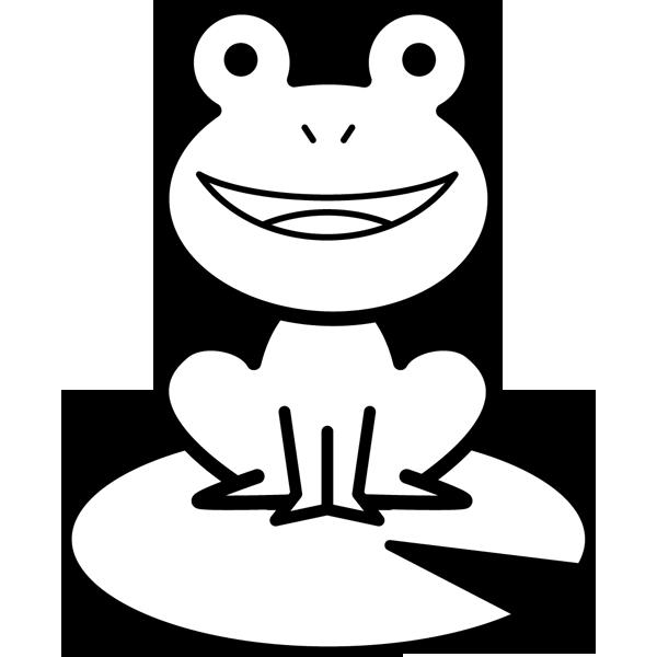 年中行事 カエル(葉っぱの上に座る)(モノクロ)
