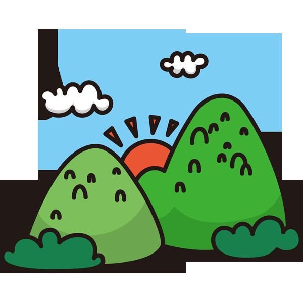 自然 山(山と太陽)(カラー)