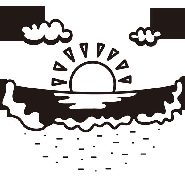 自然 海(砂浜)(モノクロ)
