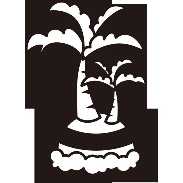 自然 海(ヤシの木・島)(モノクロ)
