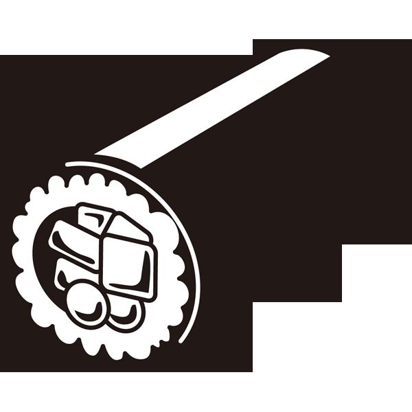 年中行事 恵方巻き(巻き寿司)(モノクロ)