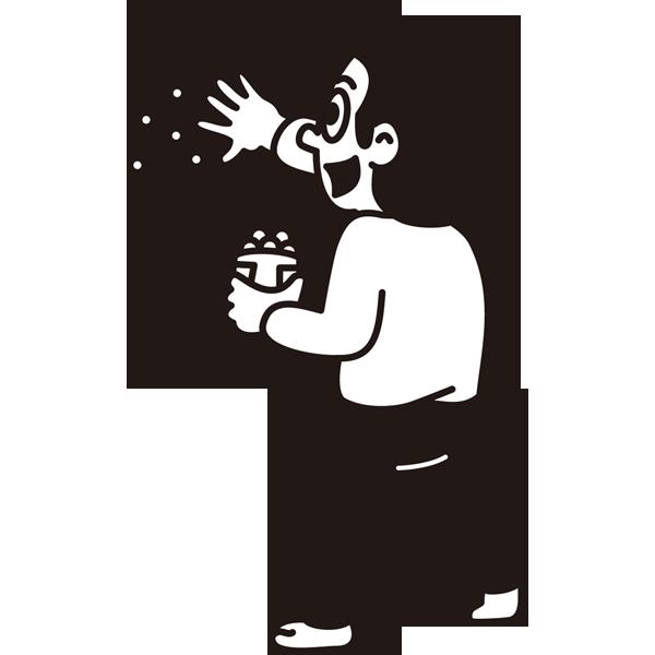 年中行事 豆まき(モノクロ)