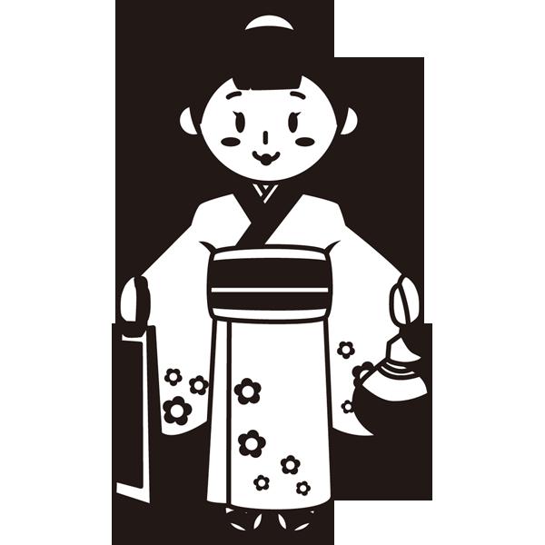 年中行事 七五三(女の子)(モノクロ)
