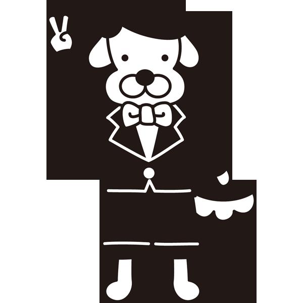 年中行事 七五三(犬の男の子)(モノクロ)