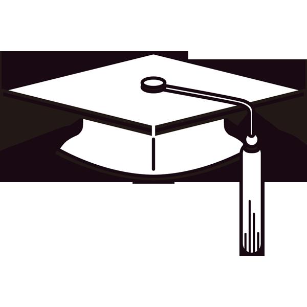 年中行事 卒業式の帽子(モノクロ)