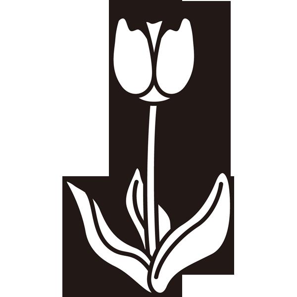 植物 チューリップ(モノクロ)