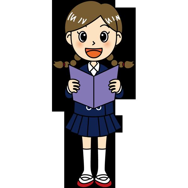 学校 女子生徒(歌を歌う女の子)(カラー)