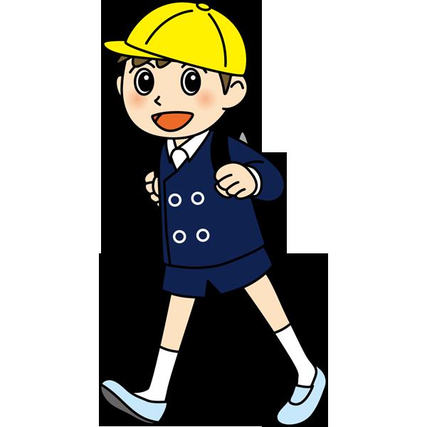 学校 男子生徒(登校中の男の子)(カラー)