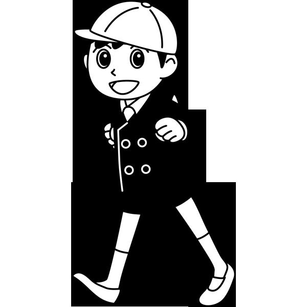 学校 男子生徒(登校中の男の子)(モノクロ)