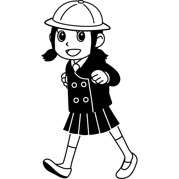 学校 女子生徒(登校中の女の子)(モノクロ)