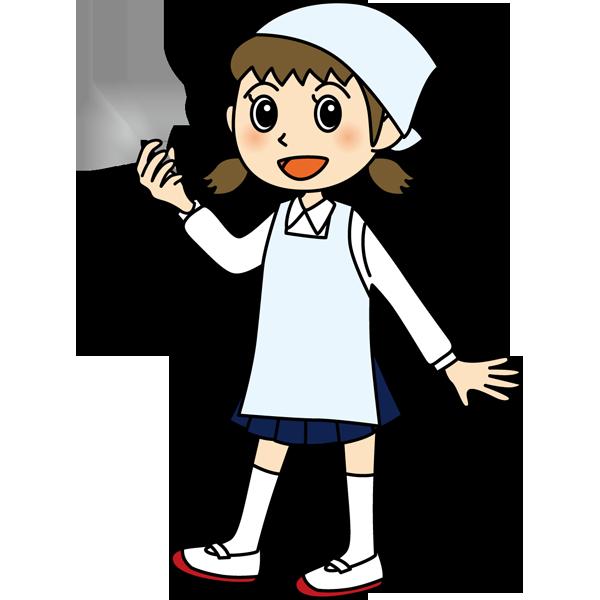 学校 女子生徒(給食当番の女の子)(カラー)