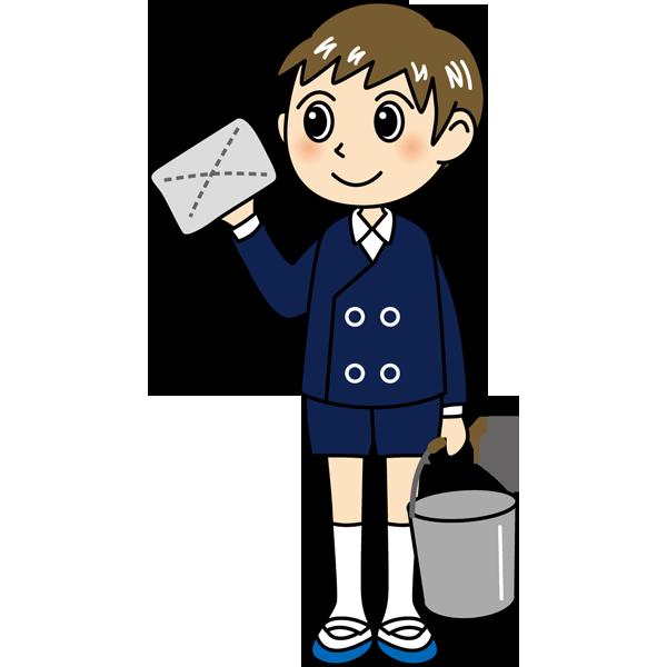 学校 男子生徒(掃除をする男の子)(カラー)