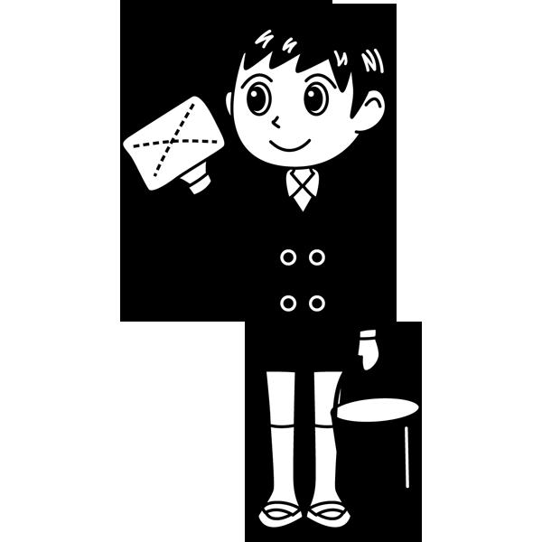 学校 男子生徒(掃除をする男の子)(モノクロ)