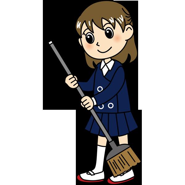 学校 女子生徒(掃除をする女の子)(カラー)