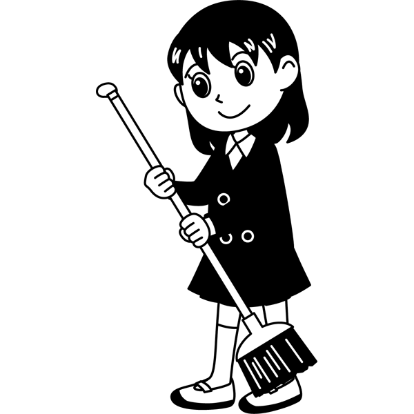 学校 女子生徒(掃除をする女の子)(モノクロ)