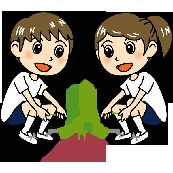 学校 生徒(芋掘り)(カラー)