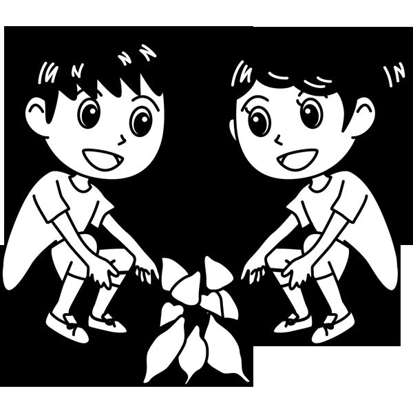 学校 生徒(芋掘り)(モノクロ)