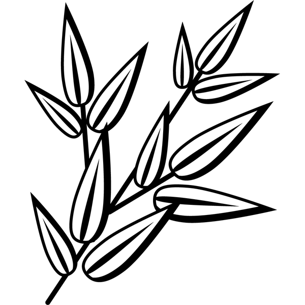 年中行事 笹飾り(七夕)(モノクロ)
