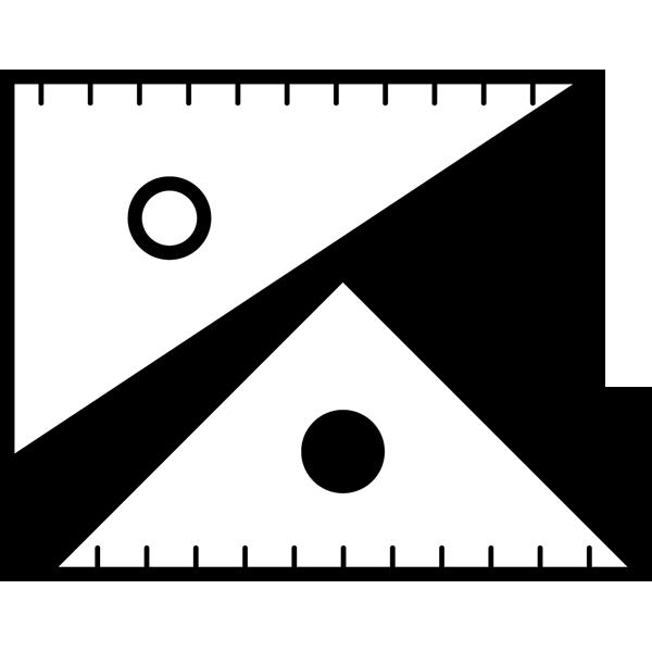 学校 三角定規(モノクロ)