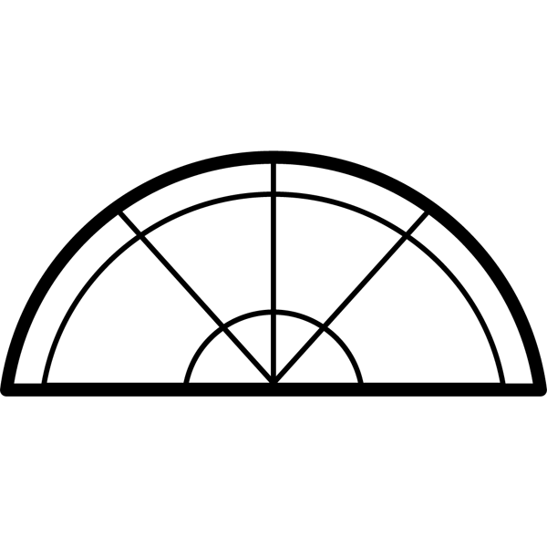 学校 分度器(モノクロ)