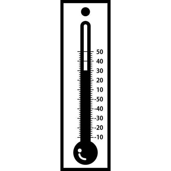 学校 温度計(モノクロ)
