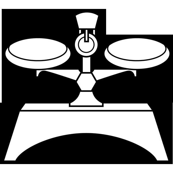 学校 上皿てんびん(はかり)(モノクロ)