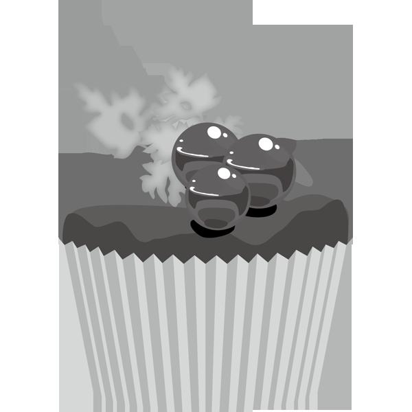 年中行事 カップケーキ(ブルーベリー)(モノクロ)