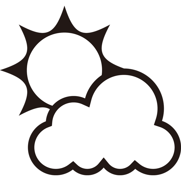 自然 晴れ時々くもり(天気・太陽・雲)(モノクロ)