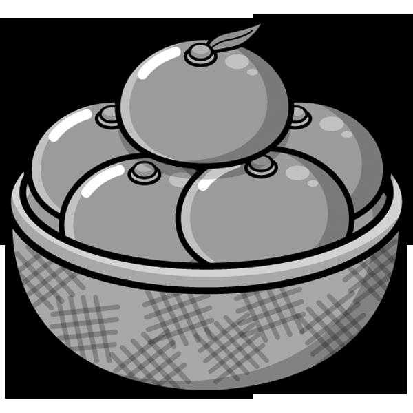 食品 みかん(モノクロ)