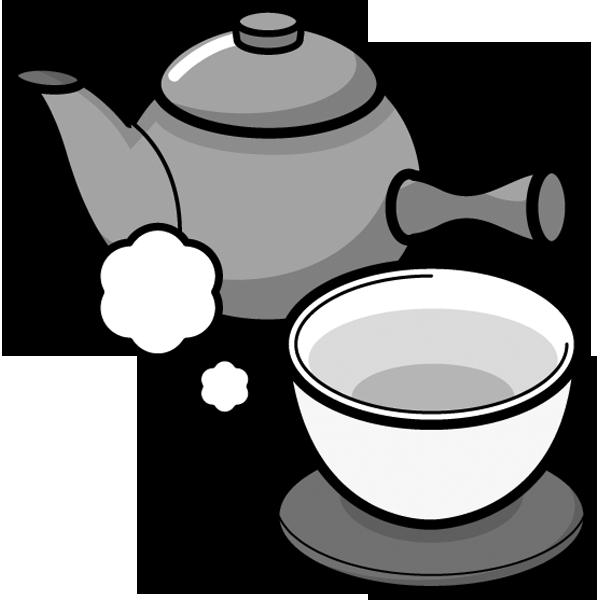 食品 緑茶(急須)(モノクロ)