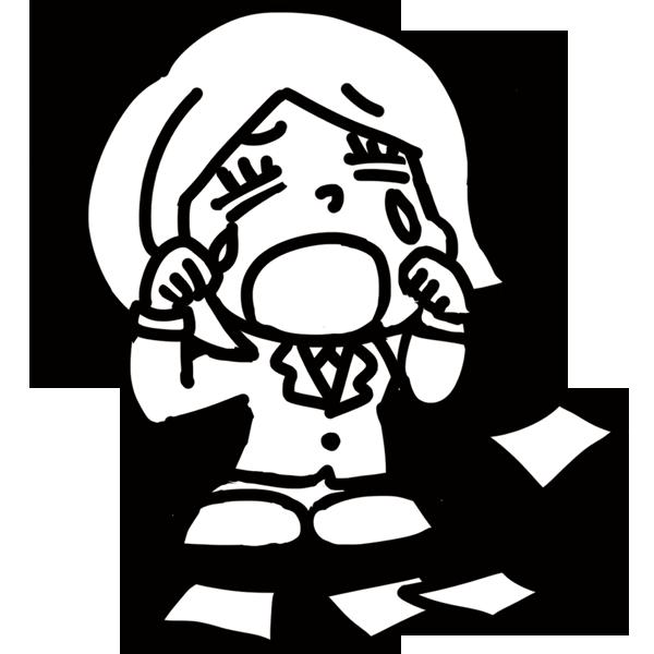 ドジっこ女性社員(モノクロ)