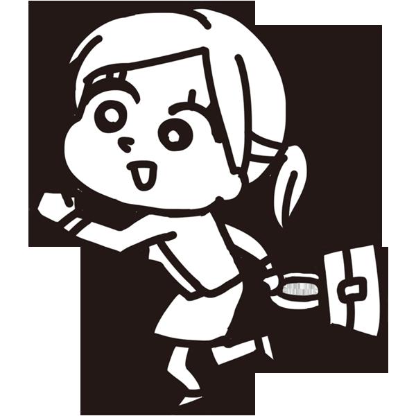 走る女性社員(モノクロ)