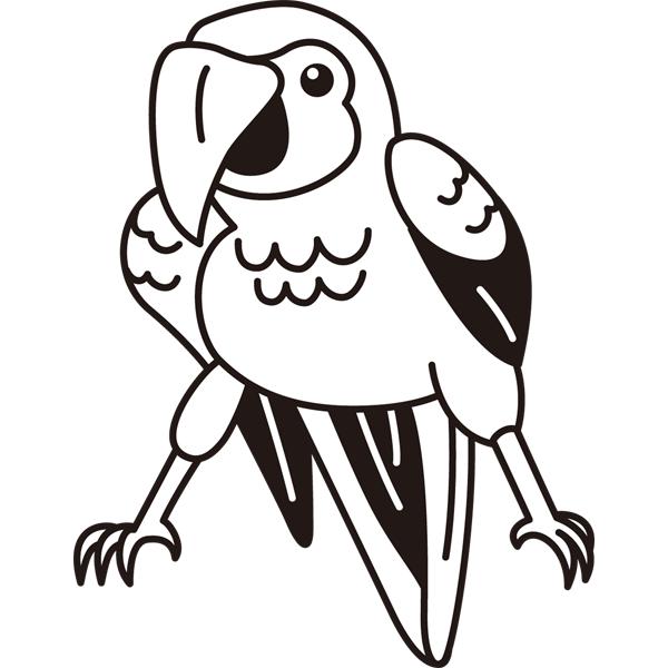 動物 オウム(モノクロ)