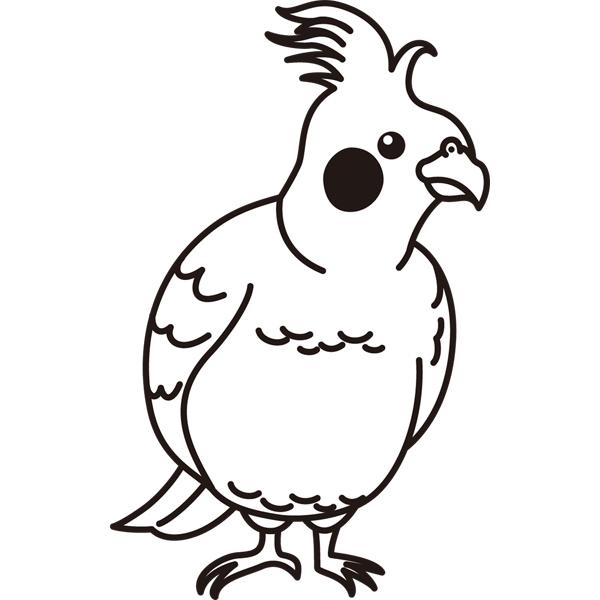 動物 インコ(モノクロ)