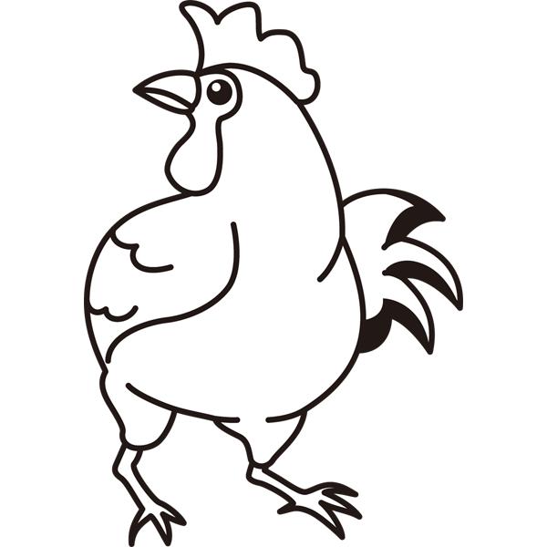 動物 ニワトリ(モノクロ)