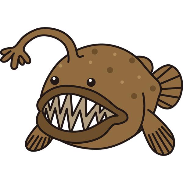 動物 魚(アンコウ)(カラー)