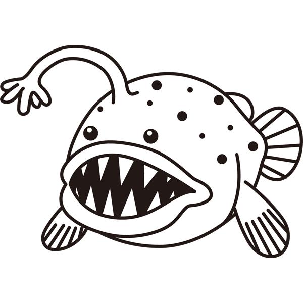 動物 魚(アンコウ)(モノクロ)