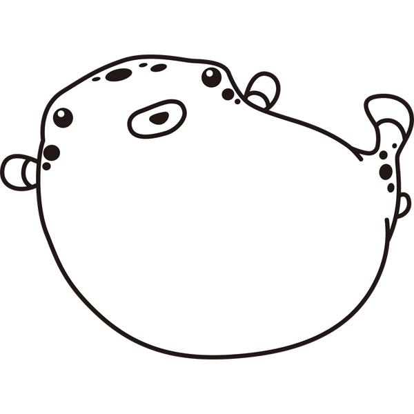 動物 魚(フグ)(モノクロ)