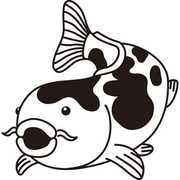 動物 魚(鯉)(モノクロ)