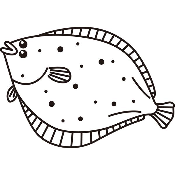 動物 魚(ヒラメ)(モノクロ)